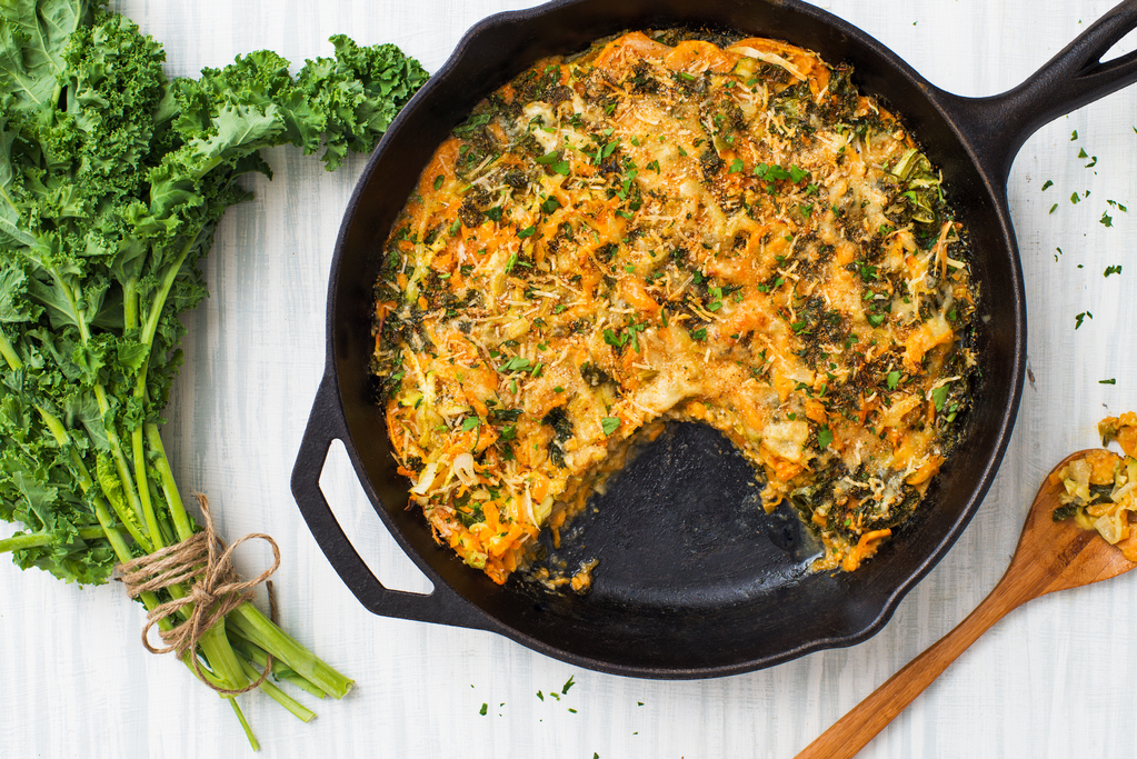 Chicken, Kale and Sweet Potato Skillet Gratin