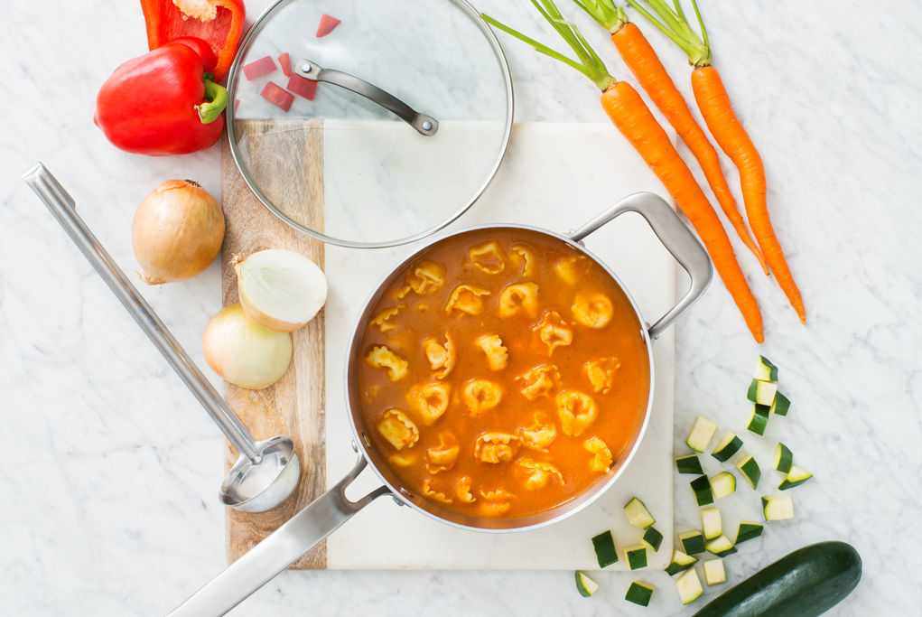 Tomato and Veggie Soup with Tortellini