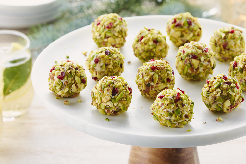 Goat Cheese Balls with Pistachio and Dried Cherries