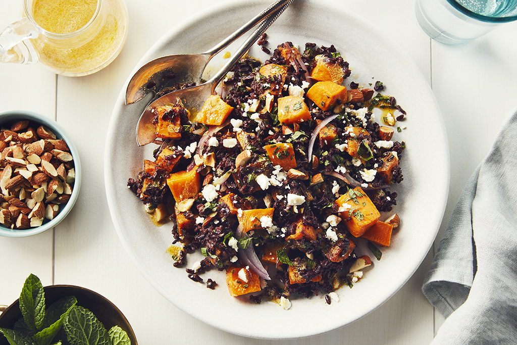 Curried Black Rice Salad with Sweet Potato and Mint