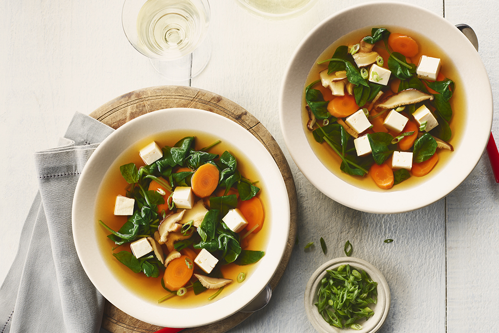 Tofu, Carrot and Spinach Soup
