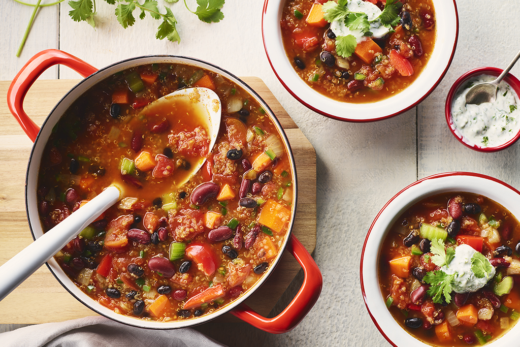 Vegetable Chili with Cilantro Yogurt