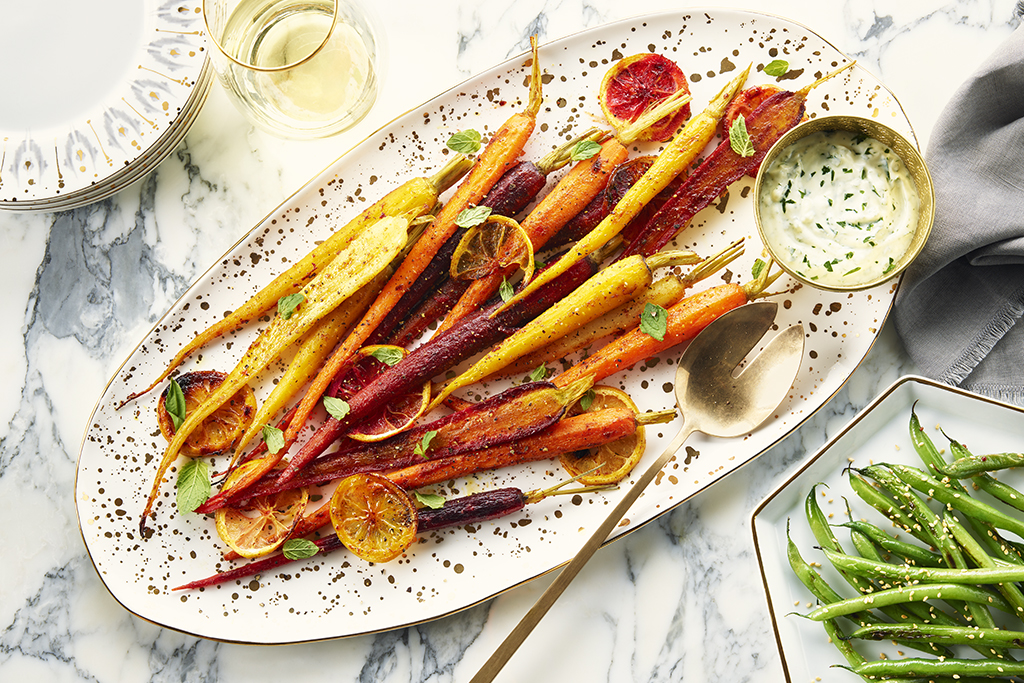 Roasted Curried Carrots with Herb Yogurt Sauce