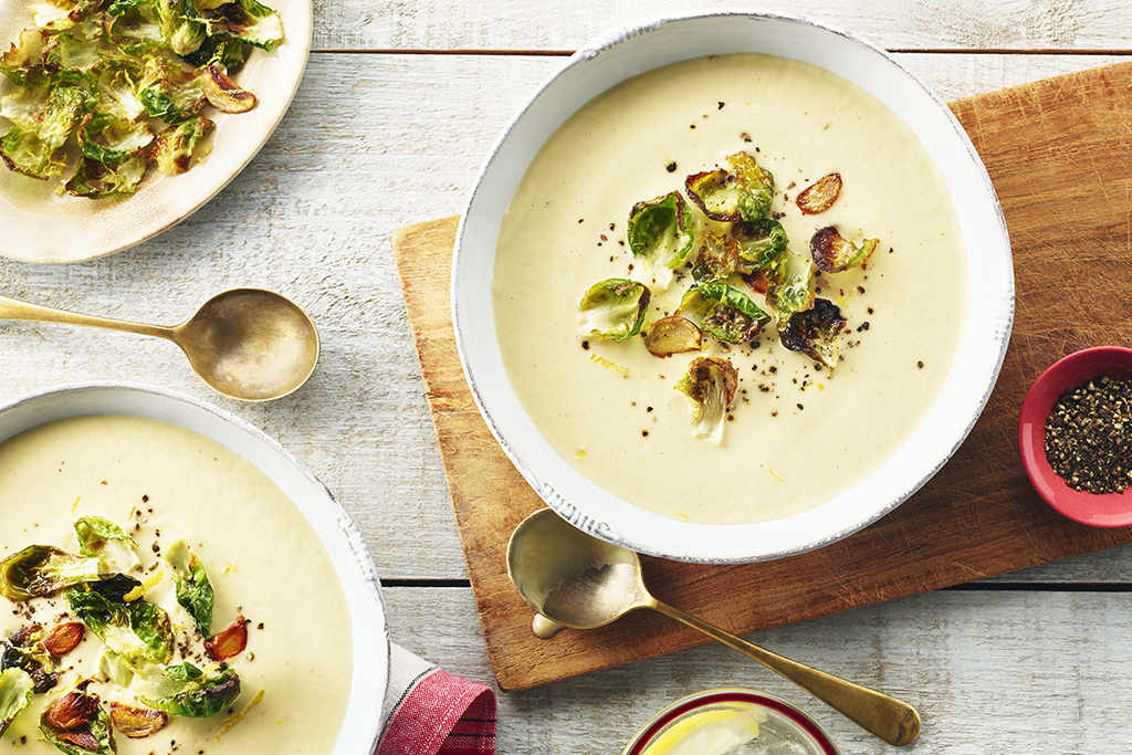 Creamy Roasted Cauliflower Soup with Garlicky Lemon Sprouts