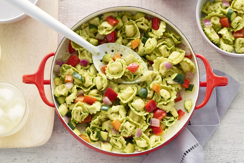 One Pot Tortellini with Pesto
