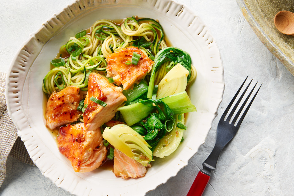 Teriyaki Salmon with Zucchini Noodles