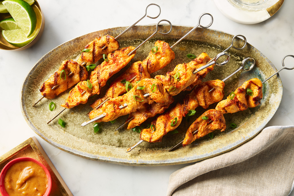 Chicken Satay Skewers with Dipping Sauce