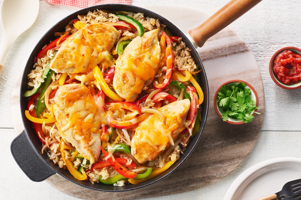 One-Pan Fajita Chicken and Rice Skillet