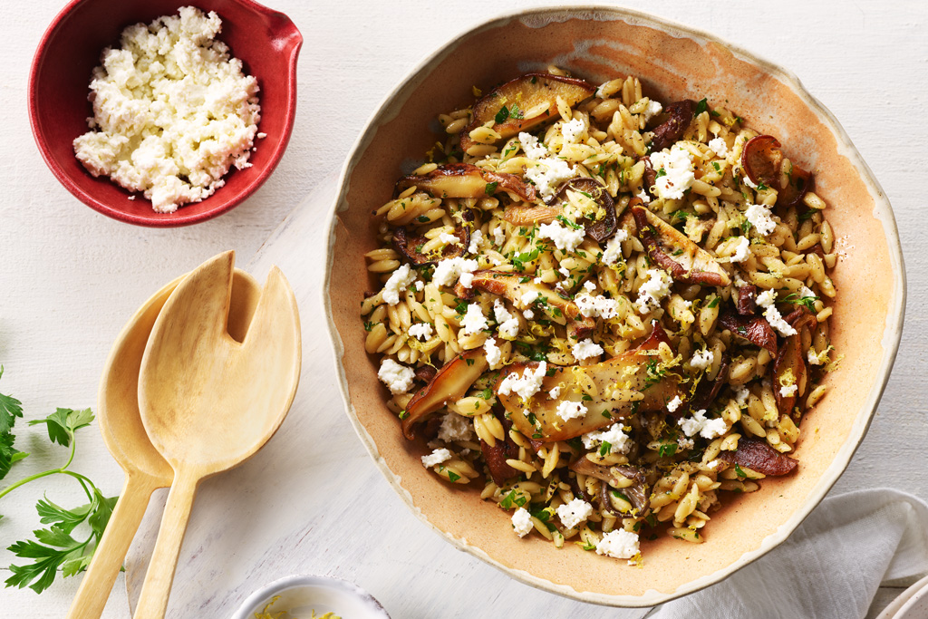 Lemony Mushroom and Orzo Salad