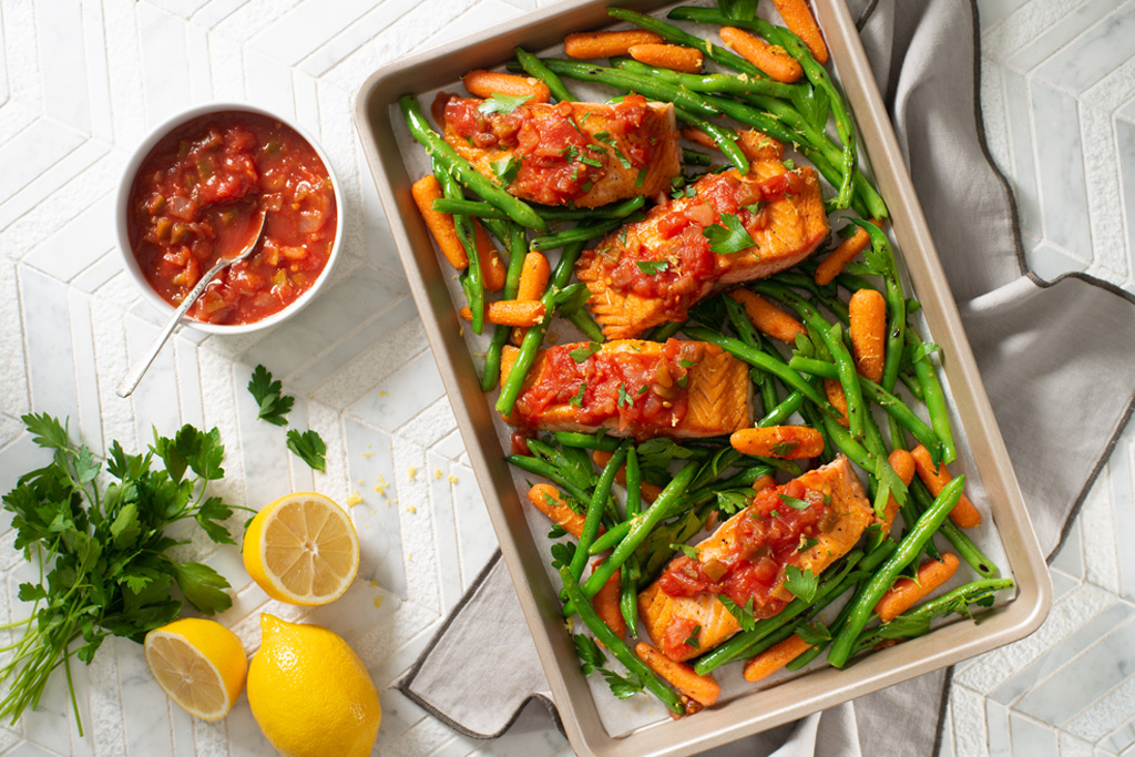One-Pan Salsa Salmon with Vegetables