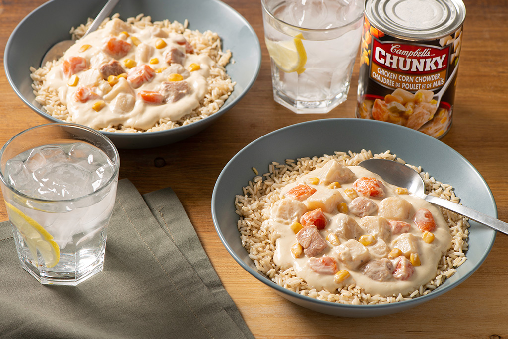 Chunky Chicken Corn Chowder with Brown Rice