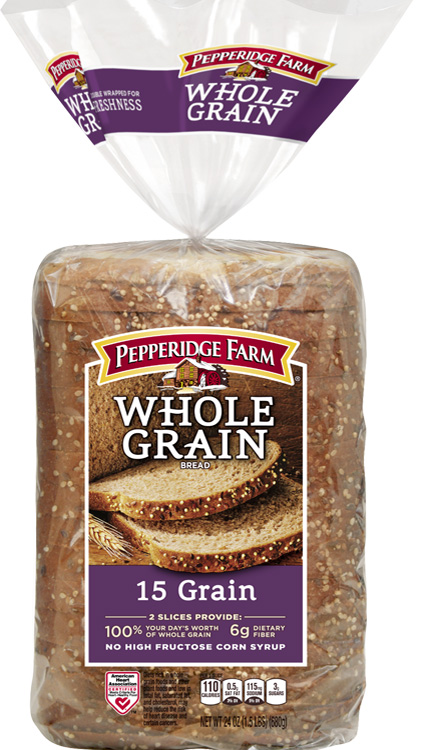 Pepperidge Farm® Whole Grain 15 Grain Bread, toasted and cut diagonally into quarters