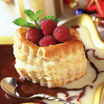 Raspberry-Filled Shells with Double Chocolate Soup