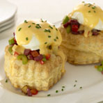 Red Potato-Corned Beef Hash and Eggs in Puff Pastry Shells