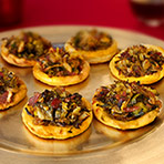 Caramelized Brussels Sprout & Bacon Pizzettes