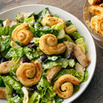 Chopped Caesar Salad with Puffed Croutons
