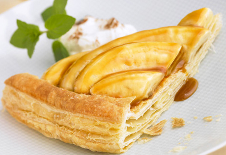 Bananas Foster over Puff Pastry