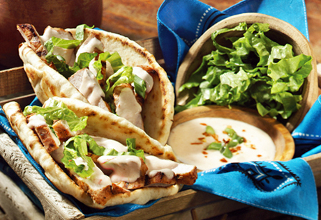 Grilled Pork in Pita with Tzatziki Sauce