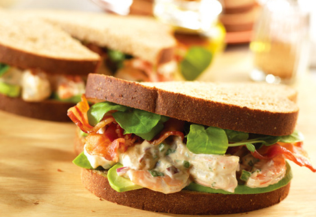 Shrimp Salad Sandwiches with Avocado, Bacon & Watercress