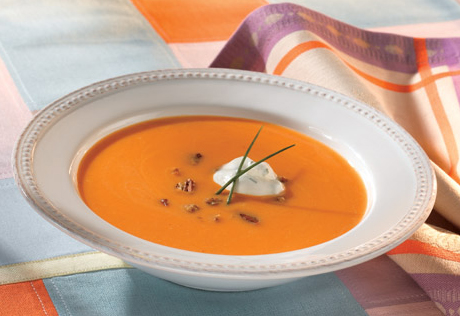 Sweet Potato Soup with Spiced Pecans & Chive Chantilly