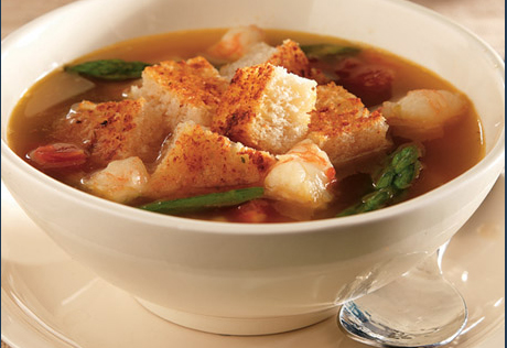 Roasted Asparagus & Shrimp Soup with Parmesan Cheese Croutons