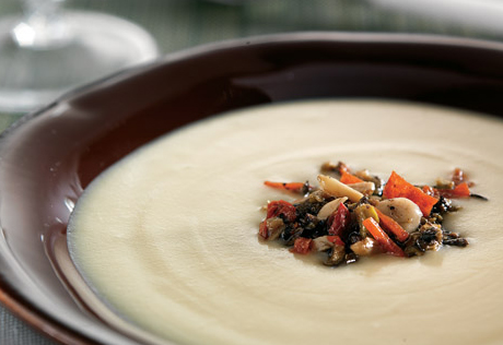 Blue Cheese Potato Soup with Olive Tapenade