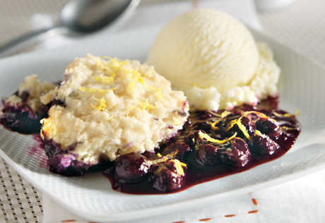 Blueberry Compote with Lemon Dumplings