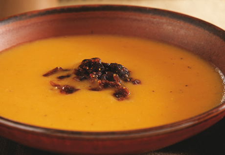 Roasted Two Potato Soup with Caramelized Shallot Fig Relish
