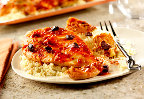 Oven-Roasted Chicken with Artichokes, Lemon and Tomato Sauce