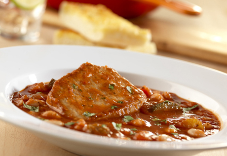 Tomato & Onion Pork Chops with Cannellini Beans