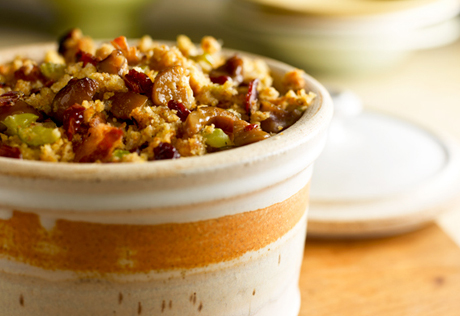 Cornbread Stuffing with Chestnuts & Bacon