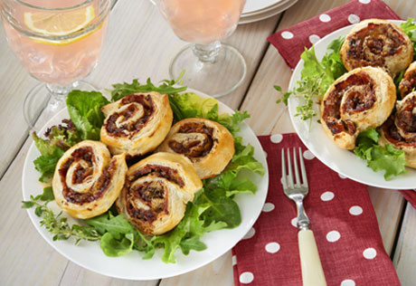 Date and Gorgonzola Pinwheels over Greens