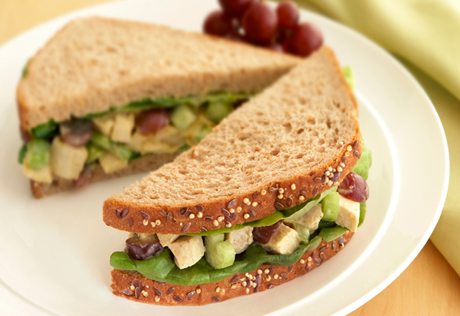 Curried Chicken Salad with Grapes Sandwiches