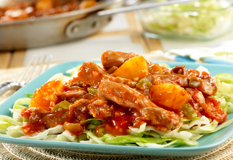 Pineapple-Picante Stir-Fried Pork & Cabbage