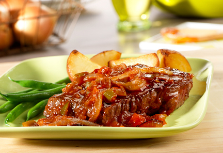 Picante Beef Steaks with Sautéed Onions