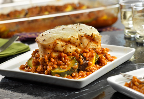 Grilled Halibut with Wheatberry & Vodka Sauce Ratatouille