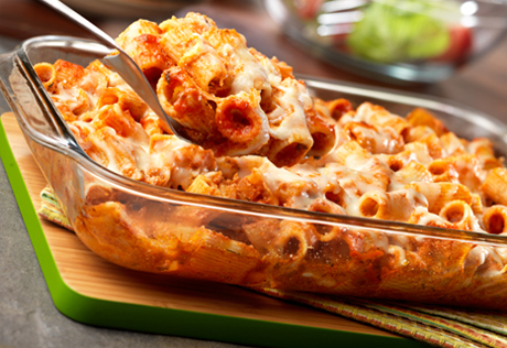 Three Cheese & Spicy Sausage Baked Rigatoni