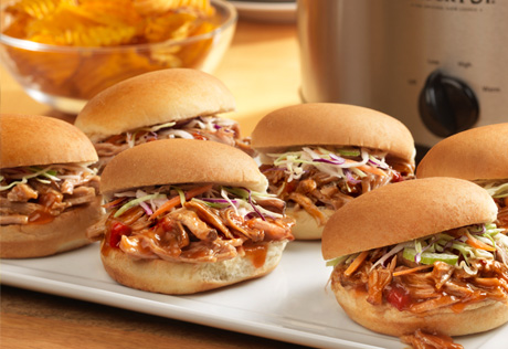 Apple Bourbon Pulled Pork Sliders