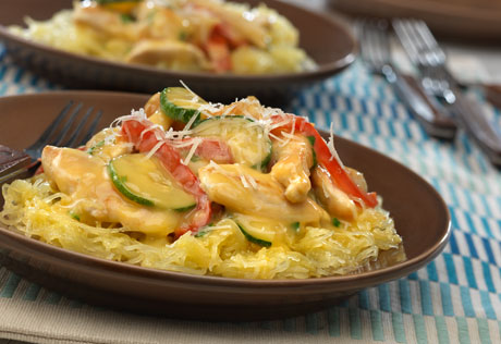 Creamy Chicken  Vegetables over Spaghetti Squash