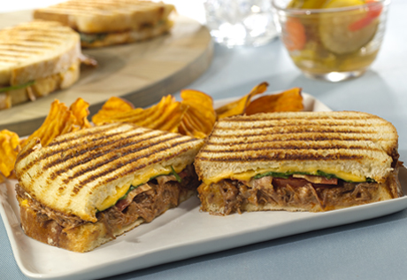 Shredded Beef Panini with Cilantro Lime Spread