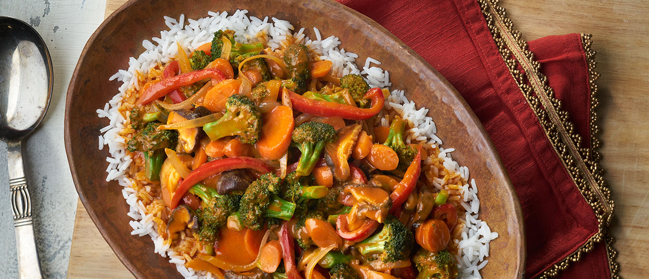 Vegetable Curry over Jasmine Rice