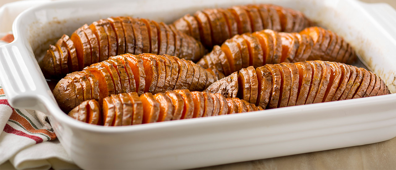 Bourbon Pecan Hasselback Sweet Potatoes