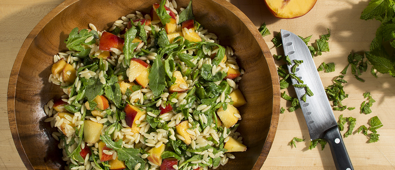 Peach Orzo Salad