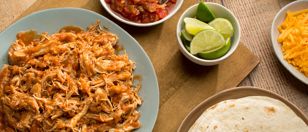 Slow Cooked Shredded Chicken Tacos