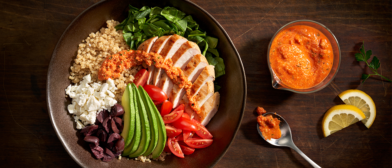 Quinoa Macro Bowl with Roasted Pepper Sauce