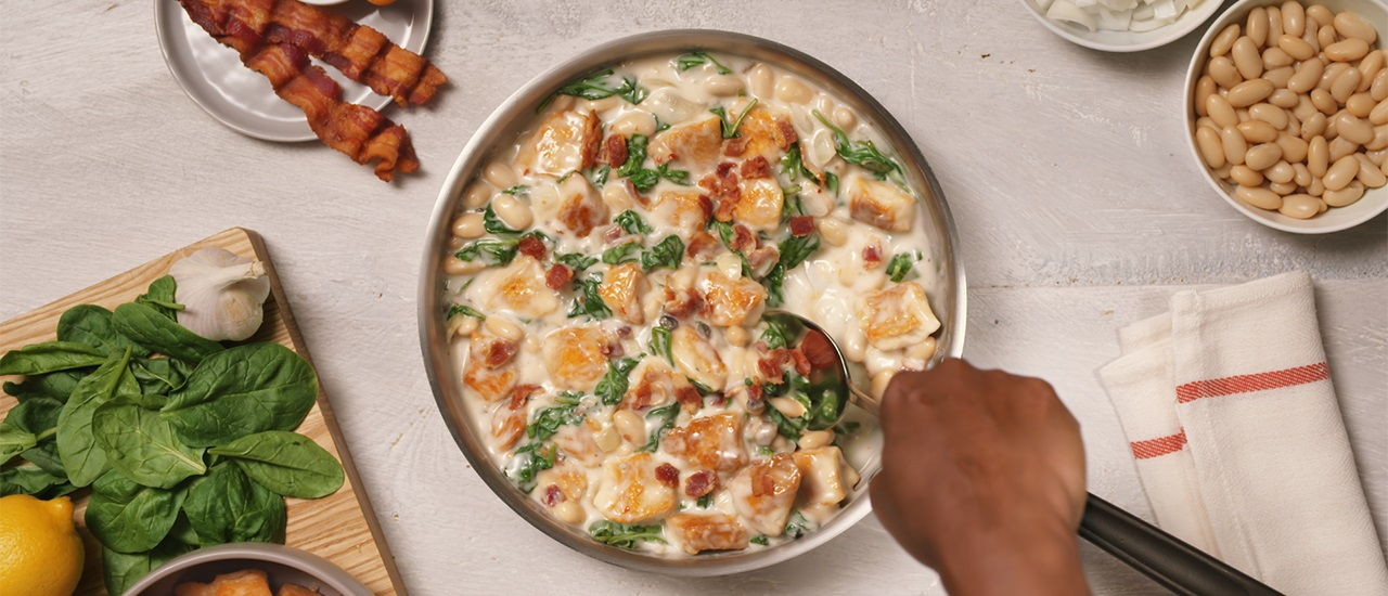Italian Chicken Skillet with Spinach & Bacon