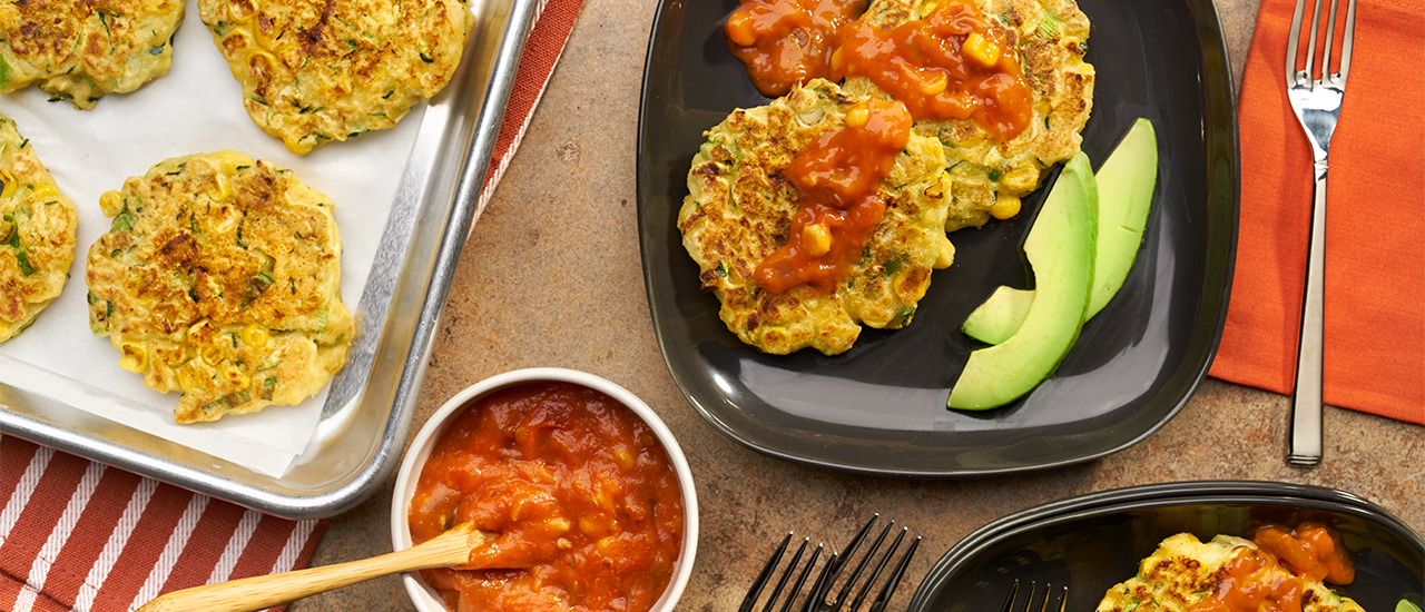 Zucchini Corn Fritters with Avocado