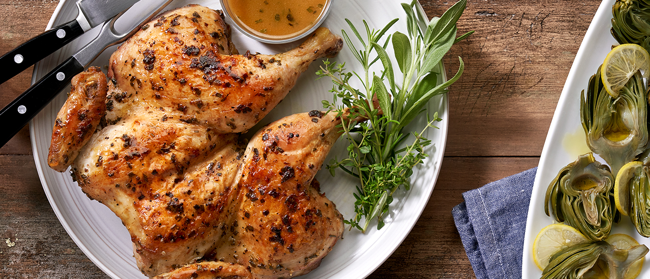 Brick Chicken with Tuscan Herbs & Sauce