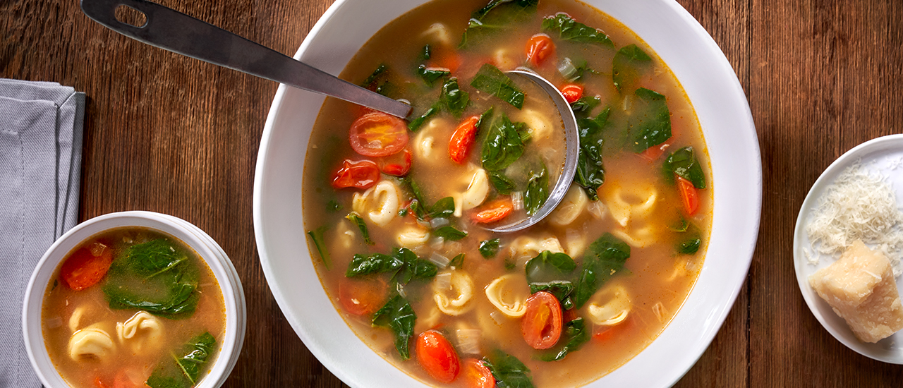 Tortellini en Brodo with Roasted Tomatoes & Spinach
