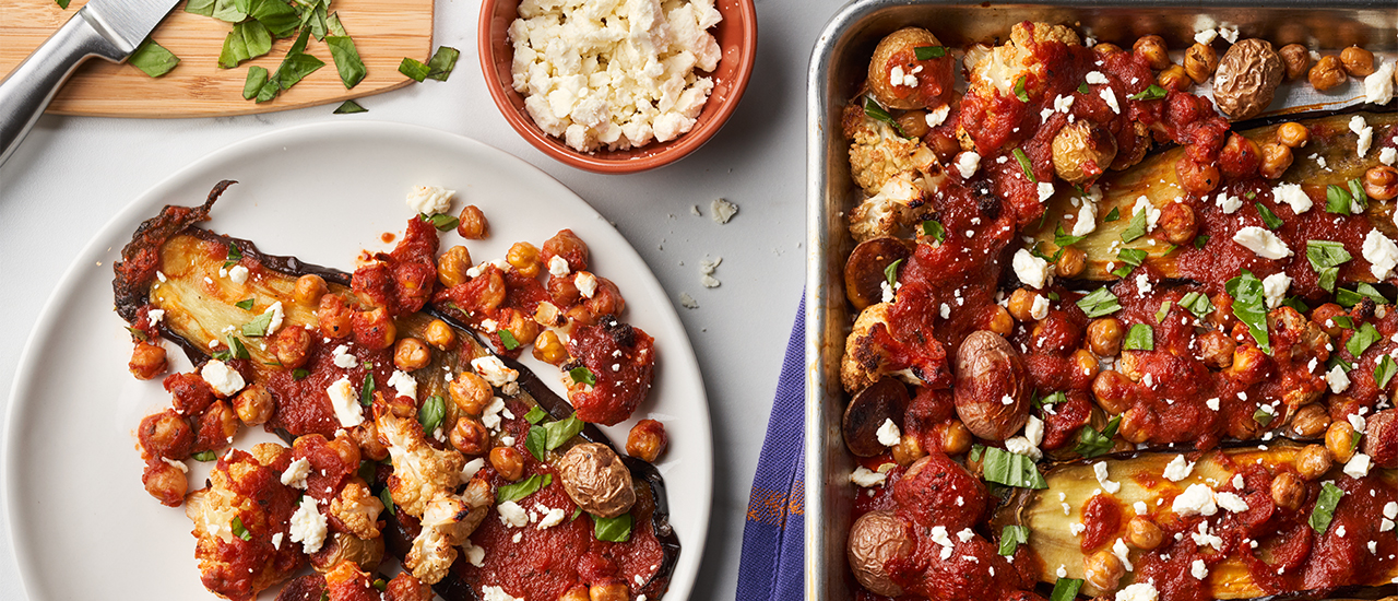 Eggplant Steaks with Roasted Chickpeas & Tomato Balsamic Sauce